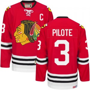 Men's Chicago Blackhawks Pierre Pilote CCM Authentic New Throwback Jersey - Red