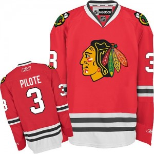 Men's Chicago Blackhawks Pierre Pilote Reebok Authentic Home Jersey - Red