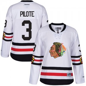 Women's Chicago Blackhawks Pierre Pilote Reebok Authentic 2017 Winter Classic Jersey - White