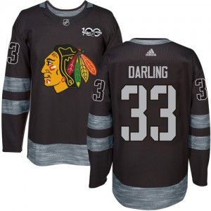 Men's Chicago Blackhawks Scott Darling Adidas Authentic 1917-2017 100th Anniversary Jersey - Black