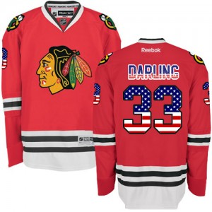 Men's Chicago Blackhawks Scott Darling Reebok Authentic USA Flag Fashion Jersey - Red