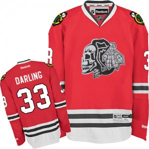 Men's Chicago Blackhawks Scott Darling Reebok Authentic Red Skull Jersey - White