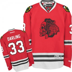 Men's Chicago Blackhawks Scott Darling Reebok Premier Skull Jersey - Red