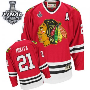 Men's Chicago Blackhawks Stan Mikita CCM Premier Throwback 2015 Stanley Cup Patch Jersey - Red