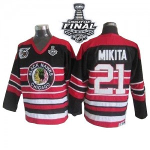 Men's Chicago Blackhawks Stan Mikita CCM Premier 75TH Patch Throwback 2015 Stanley Cup Patch Jersey - Red/Black