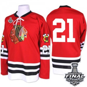 Men's Chicago Blackhawks Stan Mikita Mitchell and Ness Authentic 1960-61 Throwback 2015 Stanley Cup Patch Jersey - Red