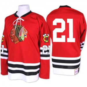Men's Chicago Blackhawks Stan Mikita Mitchell and Ness Premier 1960-61 Throwback Jersey - Red