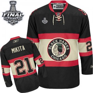 Men's Chicago Blackhawks Stan Mikita Reebok Authentic New Third 2015 Stanley Cup Patch Jersey - Black