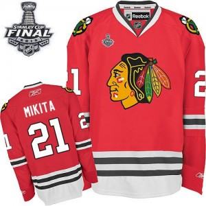 Men's Chicago Blackhawks Stan Mikita Reebok Authentic Home 2015 Stanley Cup Patch Jersey - Red