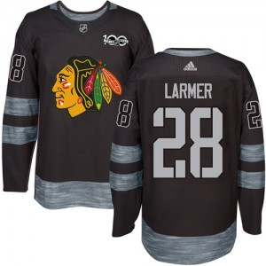 Men's Chicago Blackhawks Steve Larmer Adidas Authentic 1917-2017 100th Anniversary Jersey - Black
