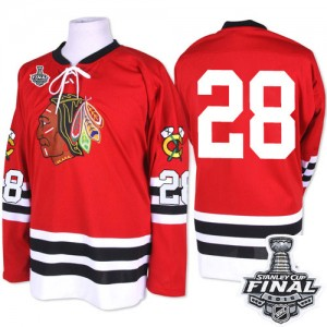 Men's Chicago Blackhawks Steve Larmer Mitchell and Ness Premier 1960-61 Throwback 2015 Stanley Cup Patch Jersey - Red
