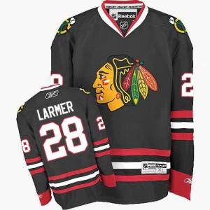Men's Chicago Blackhawks Steve Larmer Reebok Authentic Third Jersey - Black