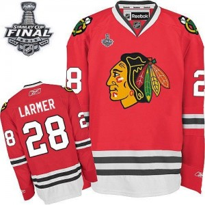 Men's Chicago Blackhawks Steve Larmer Reebok Authentic Home 2015 Stanley Cup Patch Jersey - Red