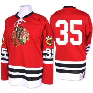 Men's Chicago Blackhawks Tony Esposito Mitchell and Ness Premier 1960-61 Throwback Jersey - Red