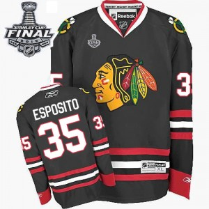 Men's Chicago Blackhawks Tony Esposito Reebok Authentic Third 2015 Stanley Cup Patch Jersey - Black