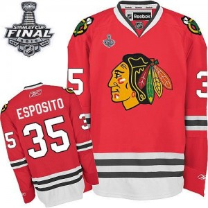Men's Chicago Blackhawks Tony Esposito Reebok Authentic Home 2015 Stanley Cup Patch Jersey - Red