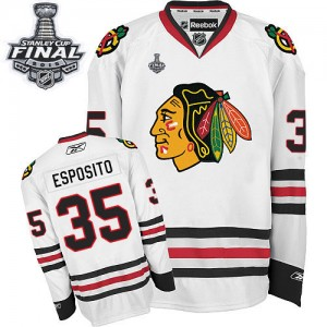 Men's Chicago Blackhawks Tony Esposito Reebok Authentic Away 2015 Stanley Cup Patch Jersey - White