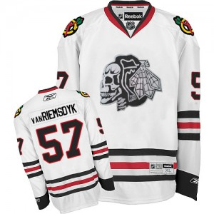 Men's Chicago Blackhawks Trevor Van Riemsdyk Reebok Authentic Skull Jersey - White