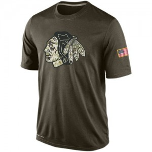 Men's Chicago Blackhawks Nike Salute To Service KO Performance Dri-FIT T-Shirt - Olive