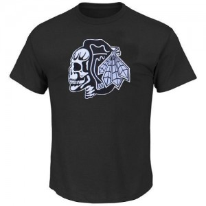 Men's Chicago Blackhawks T-Shirts - Black/ Skull - White