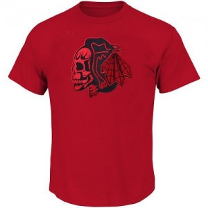 Men's Chicago Blackhawks T-Shirts - / Skull - Red