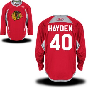 Men's Chicago Blackhawks John Hayden Reebok Replica Practice Team Jersey - - Red