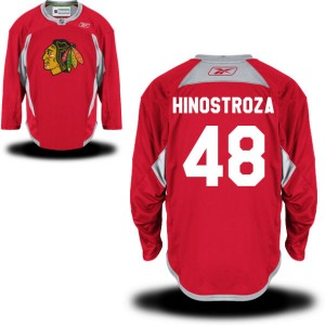 Men's Chicago Blackhawks Vinnie Hinostroza Reebok Replica Practice Team Jersey - - Red