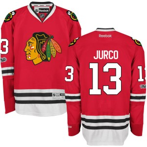 Men's Chicago Blackhawks Tomas Jurco Reebok Replica Home Centennial Patch Jersey - Red