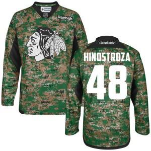 Men's Chicago Blackhawks Vinnie Hinostroza Reebok Premier Digital Veteran's Day Practice Jersey - Camo