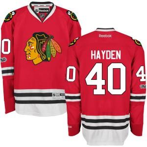 Men's Chicago Blackhawks John Hayden Reebok Premier Home Centennial Patch Jersey - Red