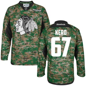 Men's Chicago Blackhawks Tanner Kero Reebok Authentic Digital Veteran's Day Practice Jersey - Camo