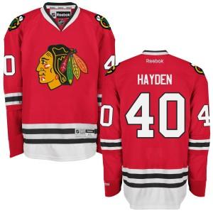 Men's Chicago Blackhawks John Hayden Reebok Authentic Home Jersey - - Red