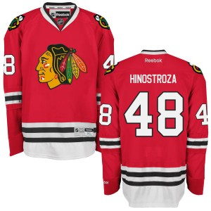 Men's Chicago Blackhawks Vinnie Hinostroza Reebok Authentic Home Jersey - - Red