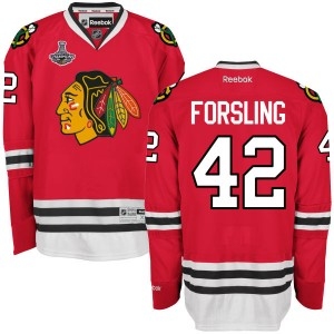 Men's Chicago Blackhawks Gustav Forsling Reebok Authentic 2015 Stanley Cup Champions Home Jersey - Red