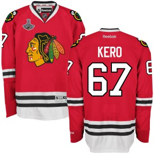 Men's Chicago Blackhawks Tanner Kero Reebok Authentic 2015 Stanley Cup Champions Home Jersey - Red