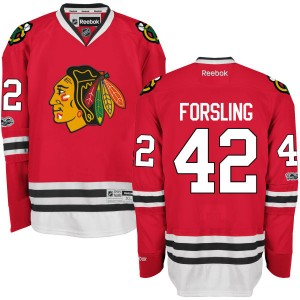 Men's Chicago Blackhawks Gustav Forsling Reebok Authentic Home Centennial Patch Jersey - Red