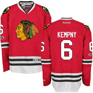 Men's Chicago Blackhawks Michal Kempny Reebok Authentic Home Centennial Patch Jersey - Red