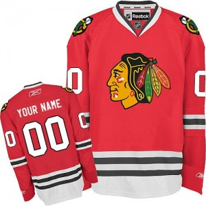 Men's Chicago Blackhawks Custom Reebok Authentic ized Home Jersey - Red
