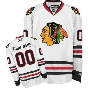 Men's Chicago Blackhawks Custom Reebok Authentic ized Away Jersey - White
