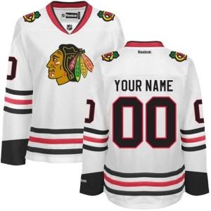 Women's Chicago Blackhawks Custom Reebok Authentic ized Away Jersey - White