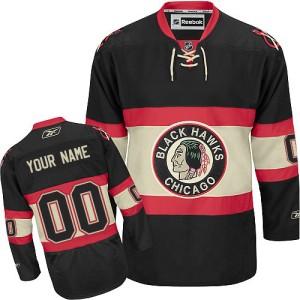 Youth Chicago Blackhawks Custom Reebok Authentic ized New Third Jersey - Black