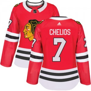 Women's Chicago Blackhawks Chris Chelios Adidas Authentic Home Jersey - Red