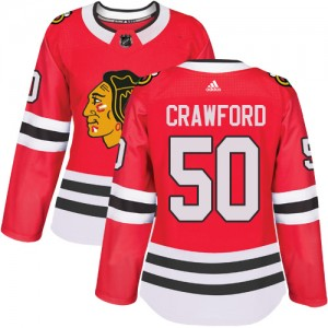 Women's Chicago Blackhawks Corey Crawford Adidas Authentic Home Jersey - Red