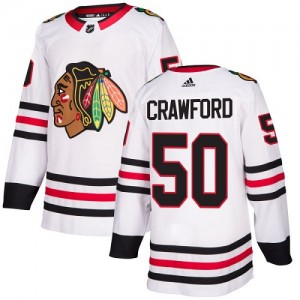 Youth Chicago Blackhawks Corey Crawford Adidas Authentic Away Jersey - White