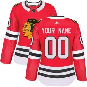 Women's Chicago Blackhawks Custom Adidas Authentic ized Home Jersey - Red