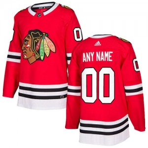 Youth Chicago Blackhawks Custom Adidas Authentic ized Home Jersey - Red