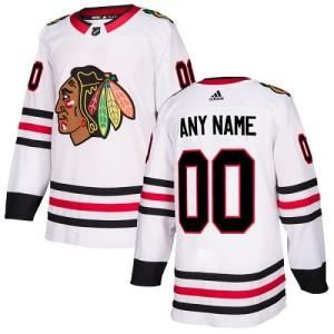 Youth Chicago Blackhawks Custom Adidas Authentic ized Away Jersey - White