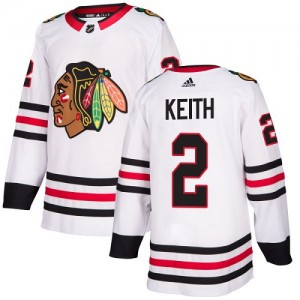 Women's Chicago Blackhawks Duncan Keith Adidas Authentic Away Jersey - White