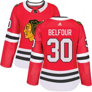 Women's Chicago Blackhawks ED Belfour Adidas Authentic Home Jersey - Red