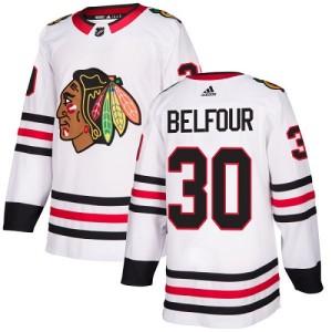 Youth Chicago Blackhawks ED Belfour Adidas Authentic Away Jersey - White